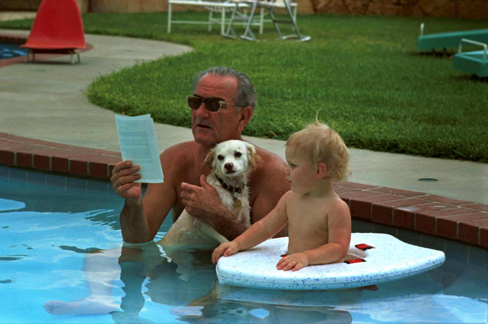 President Johnson with grandson Patrick and dog Yuki on his 59th birthday. LBJ Library photo by Yoichi Okamoto, Aug. 27, 1968