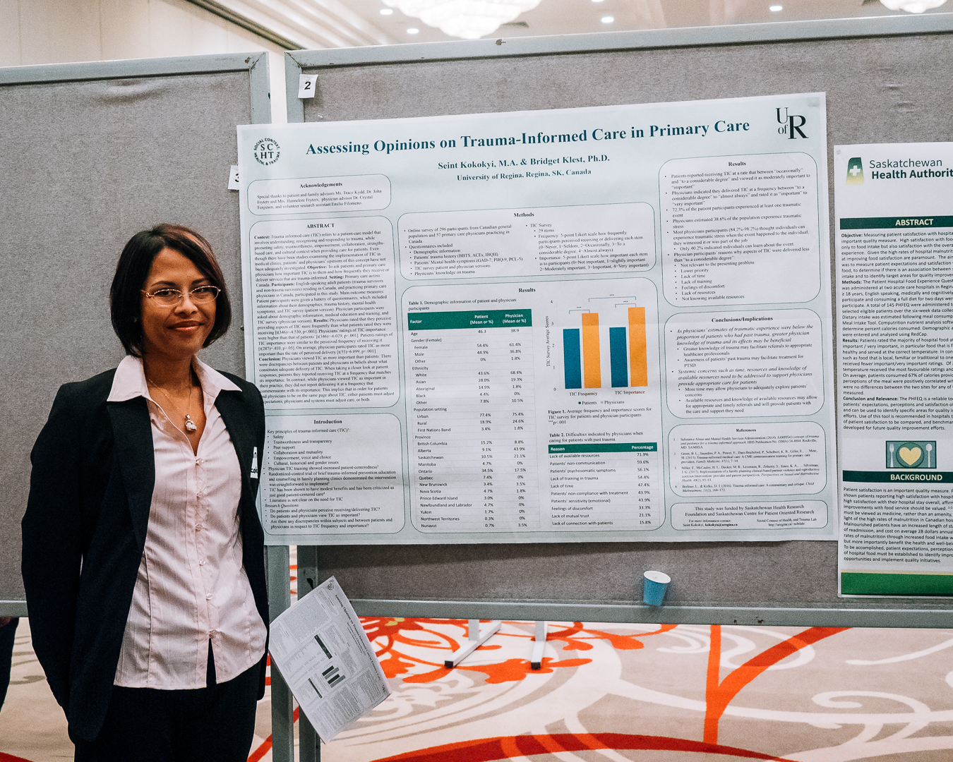 SCPOR trainee Seint Kokokyi at the Research & Performance Support Department of the Saskatchewan Health Authority - Regina Area 12th Annual Research Showcase. Seint's supervisor is the UofR's Dr. Bridget Klest. (Photo by: Chris Plishka)