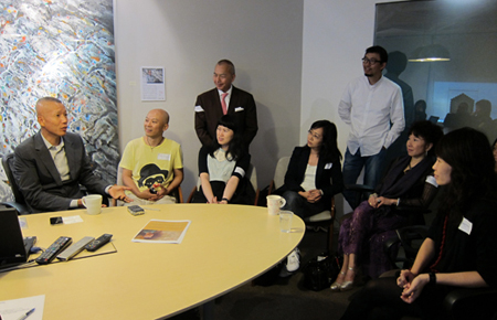 From left to right: ACC Grantee Cai Guo-Qiang speaking to ACC Grantee Hung Keung, Mr. Joseph Fung, ACC Grantee Chan Ning, Ms. Eliza Lai, Mr. Wu Daxin, ACC HK Friends' Committee member Mrs. Cissy Pao Watari, and ACC Grantee Stella Fong.
