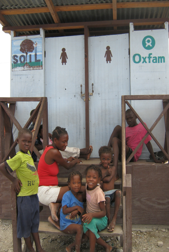 One of SOIL's toilets at an IDP camp adjacent to Pax Christi's sport's field