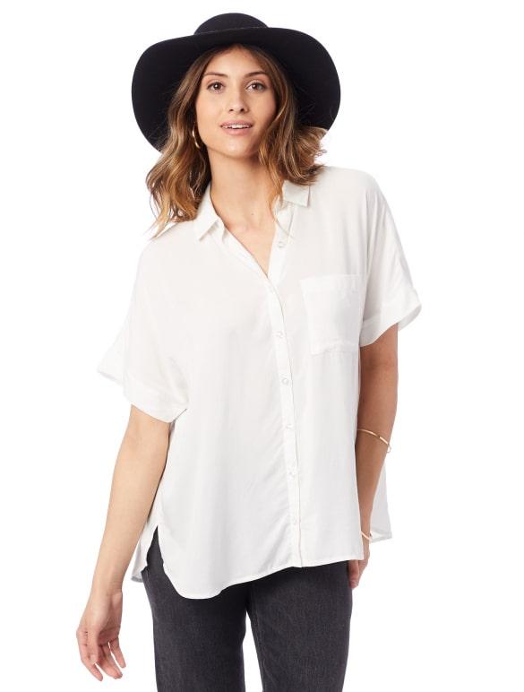 Alternative Apparel rayon Challis button down shirt