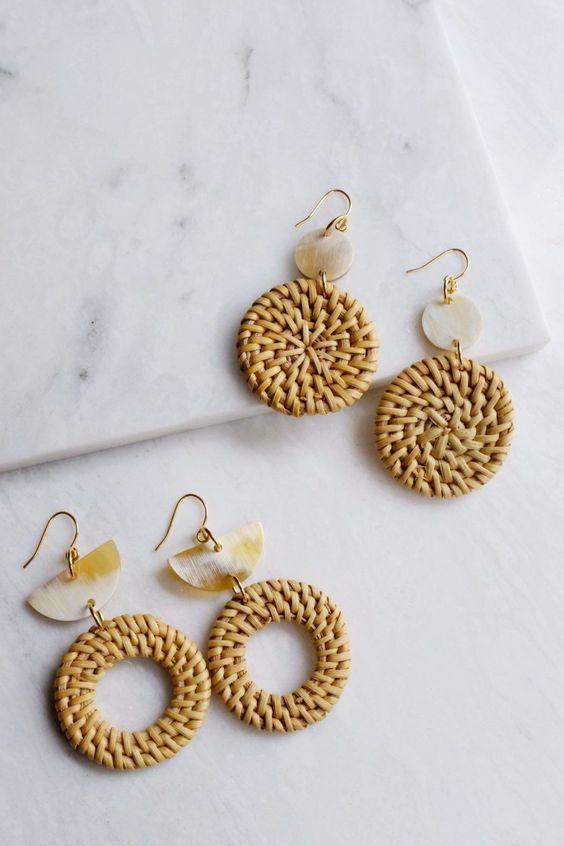 Hathorway rattan earrings