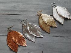 Metallic leather earrings from Jane.com