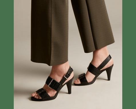 Clarks Dalia Erica  strappy black midi heel sandals