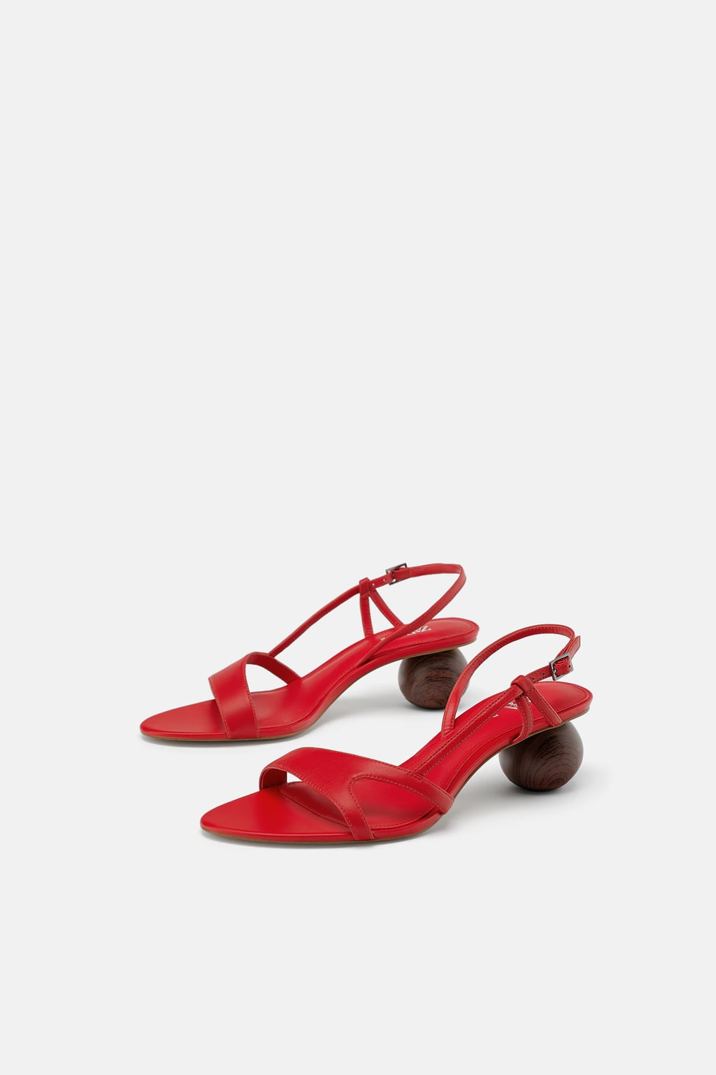 Zara  round heeled leather sandals