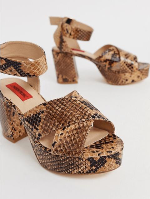 London Rebel at ASOS  platform heeled sandals in snake
