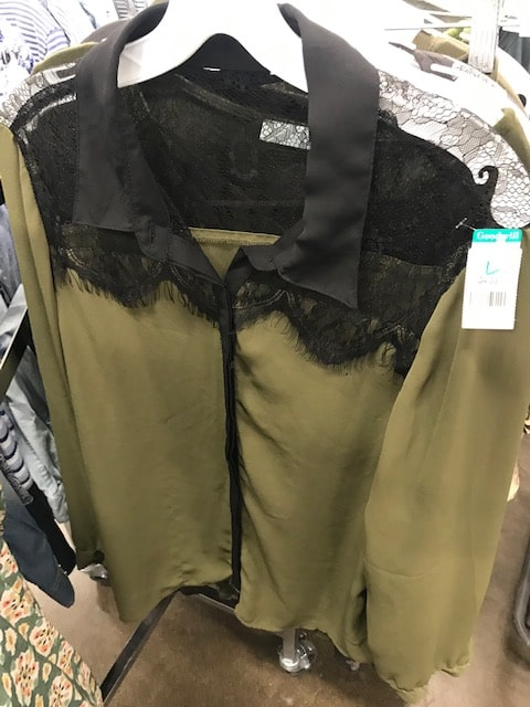 Goodwill green and black lace shirt