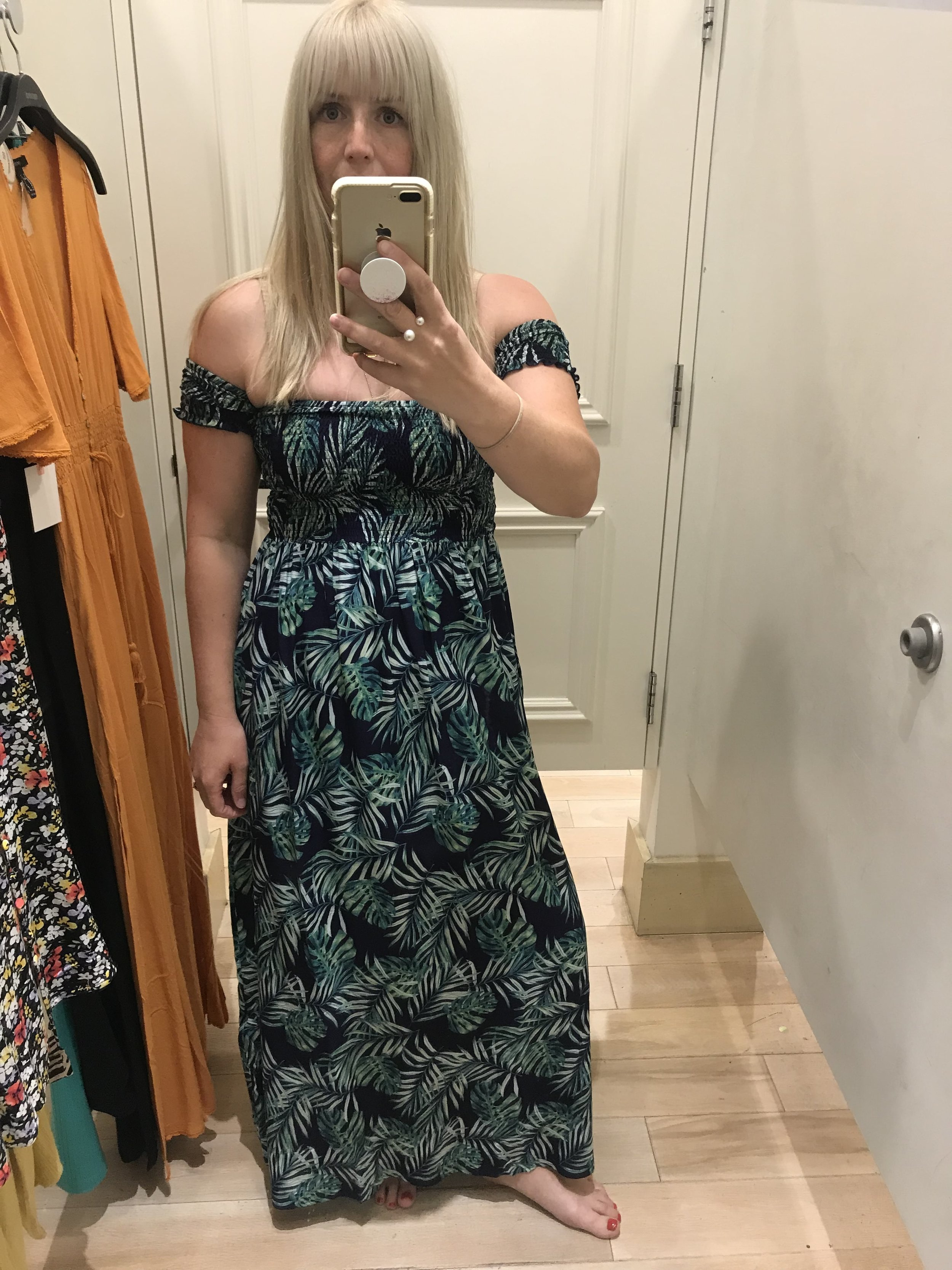 Forever 21 navy and green palm print maxi dress