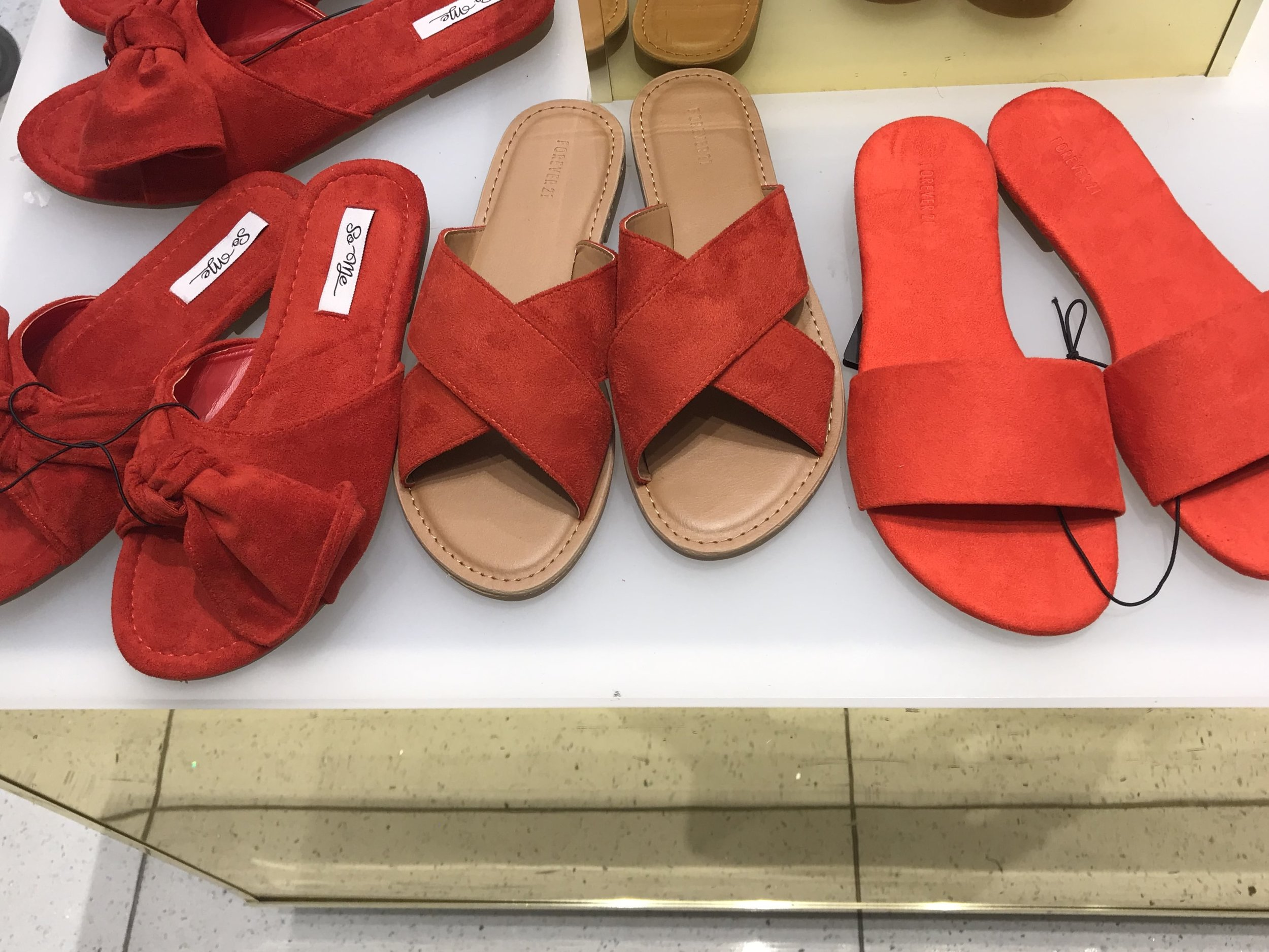 Forever 21 flat red summer sandals