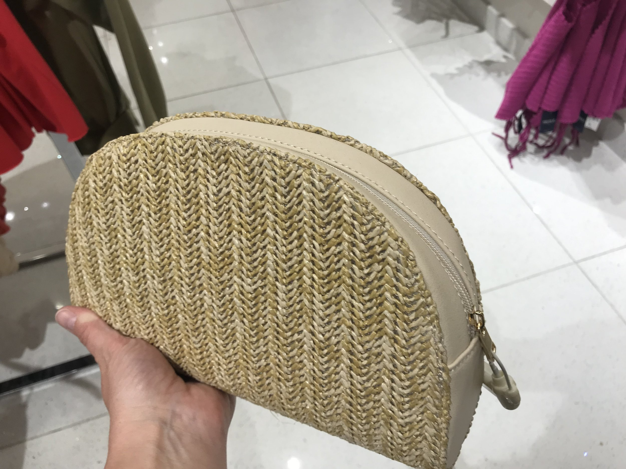 Forever 21 rattan woven clutch bag