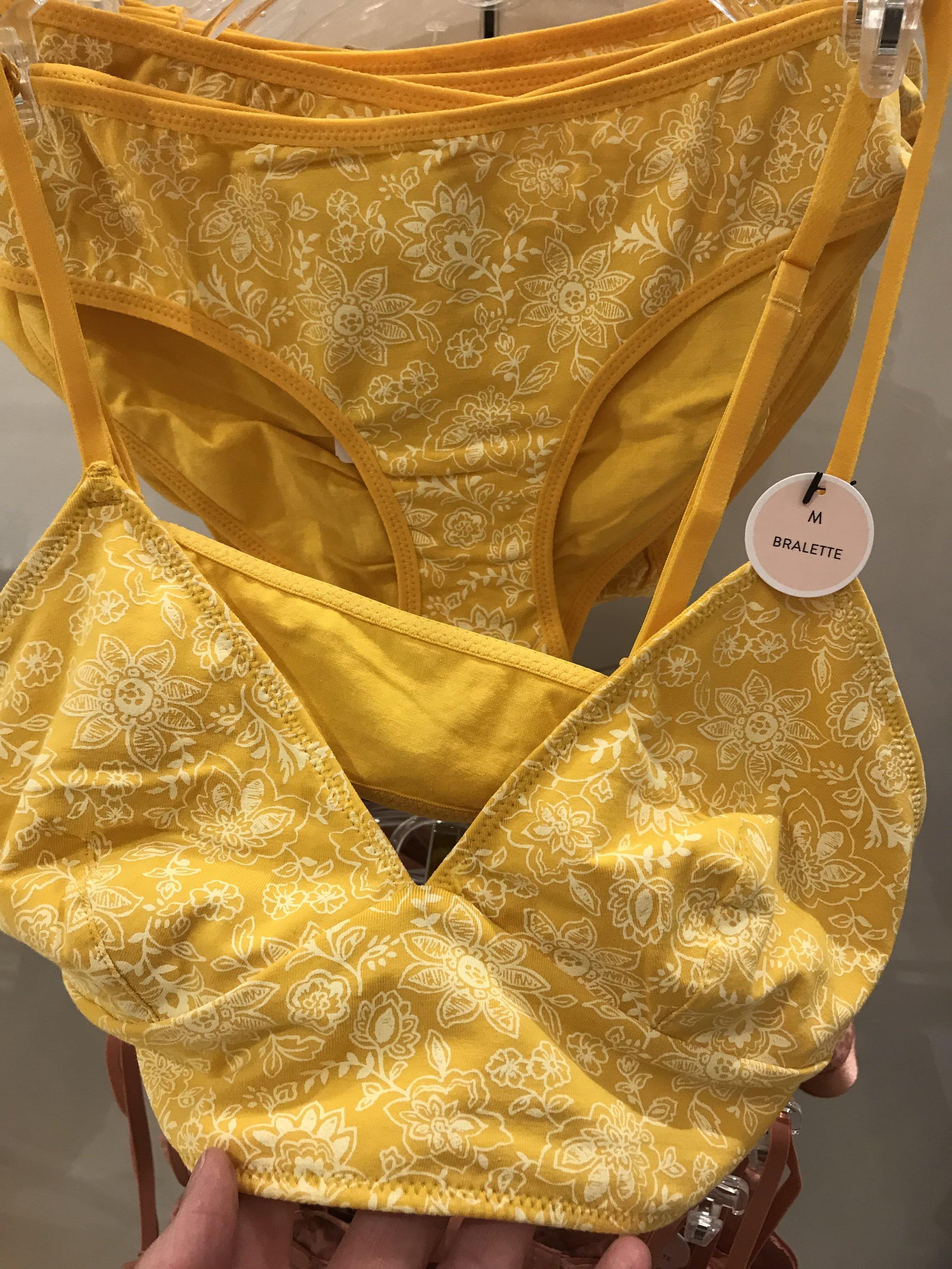 Forever 21 mustard print bralet and panties set