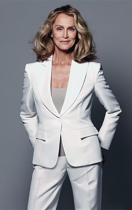 Lauren Hutton in a sharp white trouser suit. Photo: Elle France