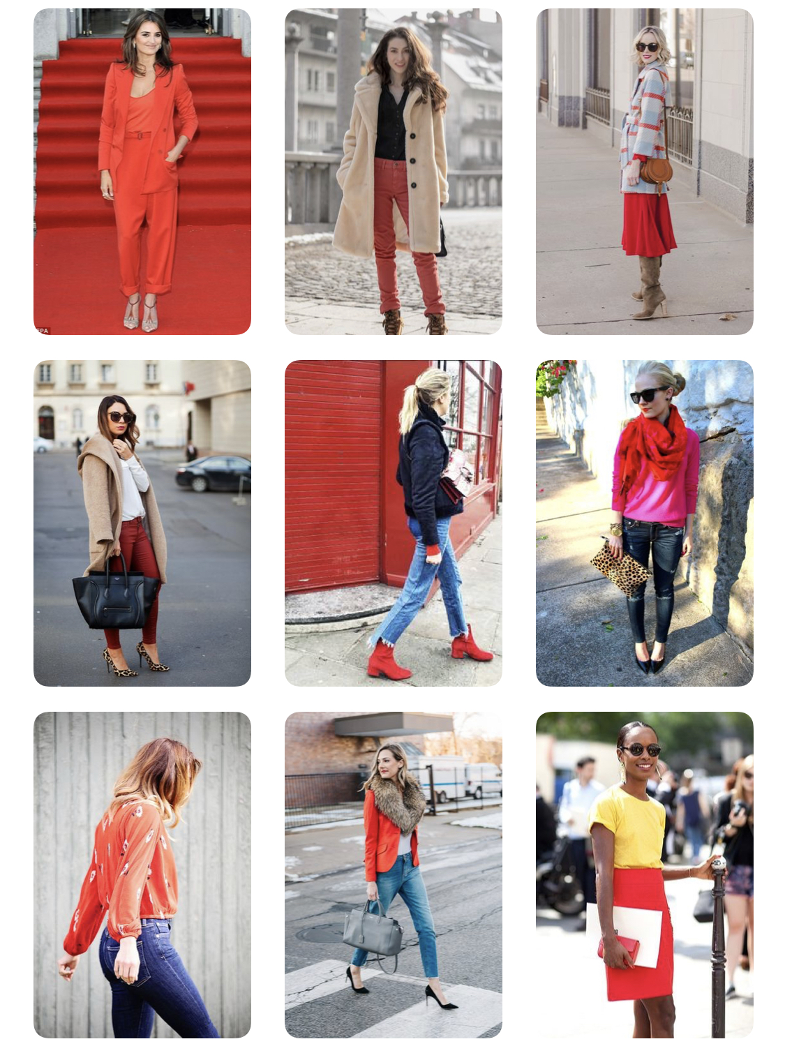 "One of Fifth & Finest's Pinterest boards entitled ""How to wear red""."