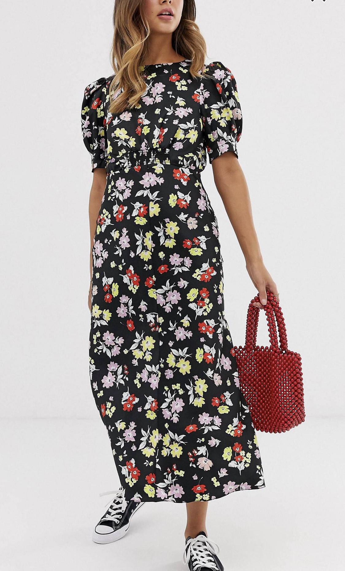 ASOS  black floral tea dress, $60