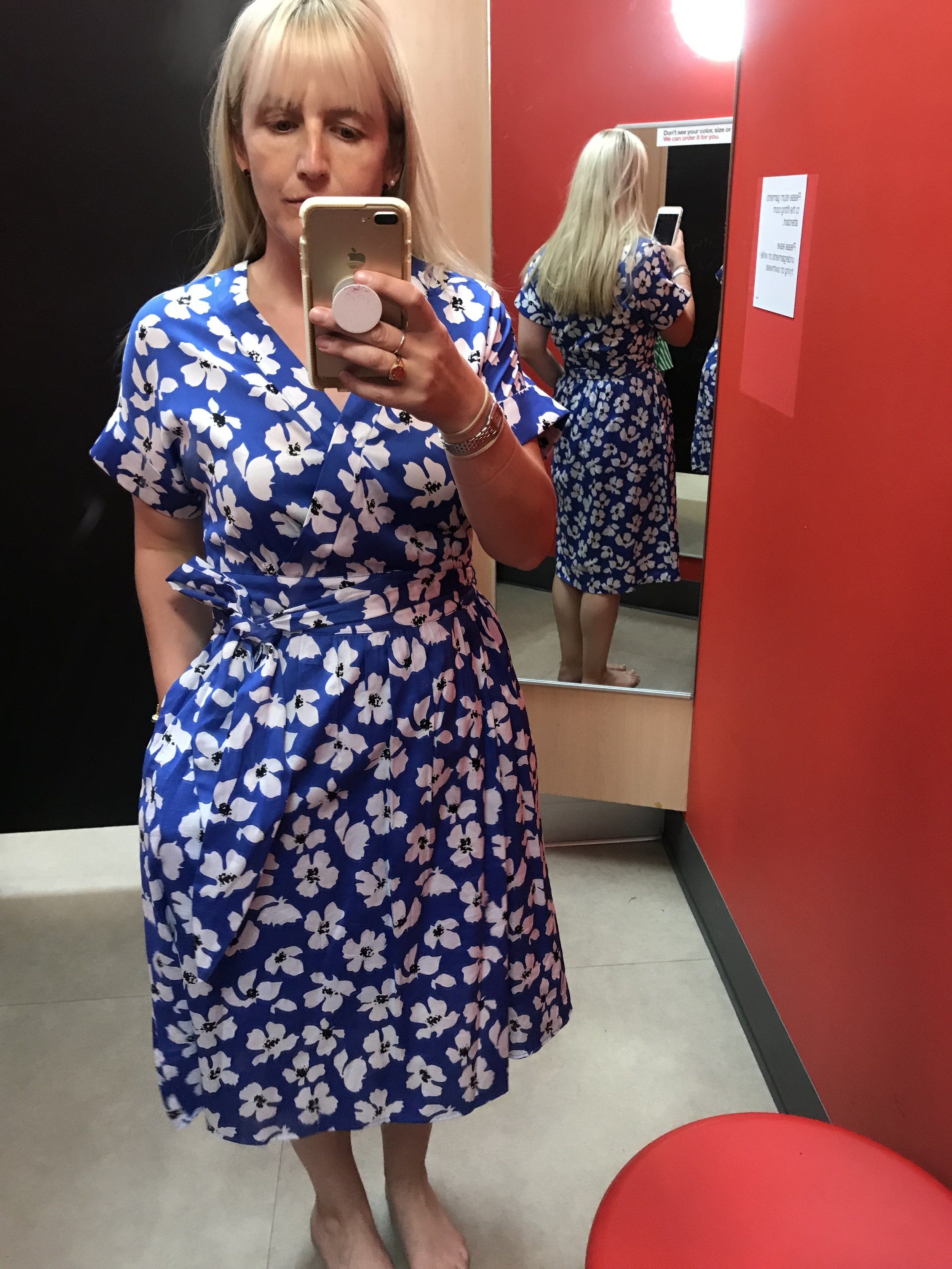 Who What Wear for Target blue floral wrap dress, $39.99