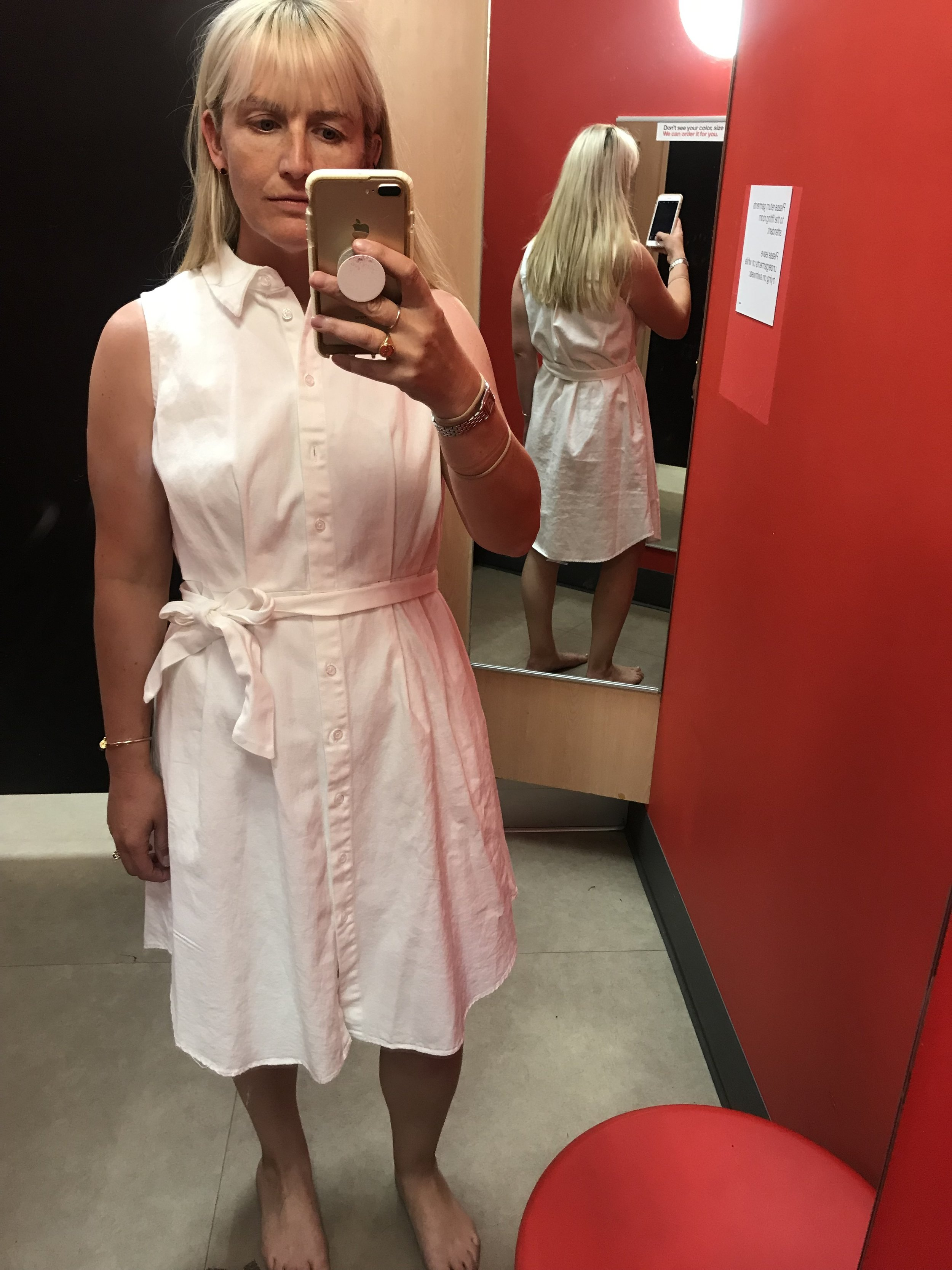 Who What Wear for Target cream denim shirt dress, $39.99