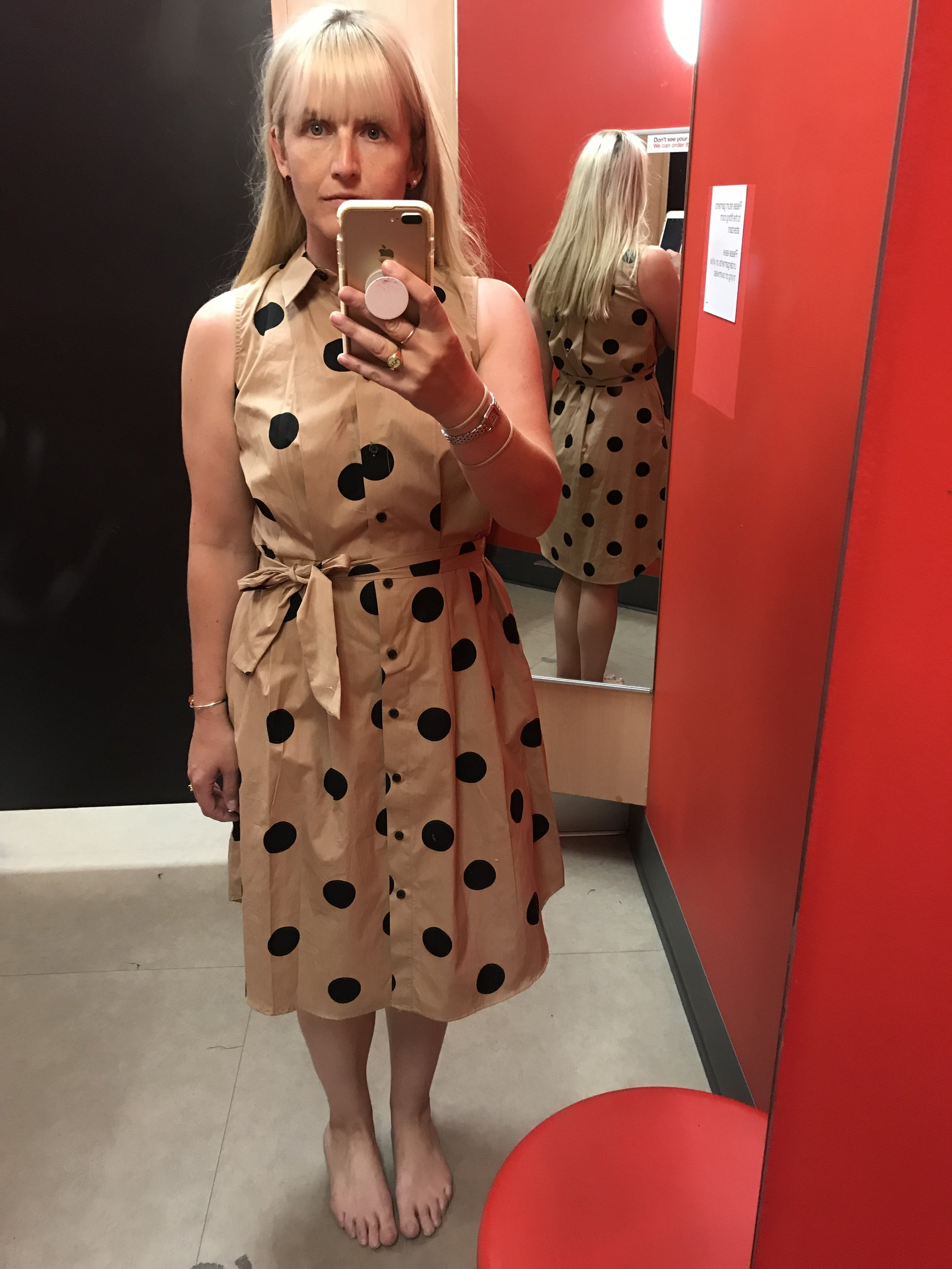 Who What Wear for Target brown polka dot shirt dress, $34.99