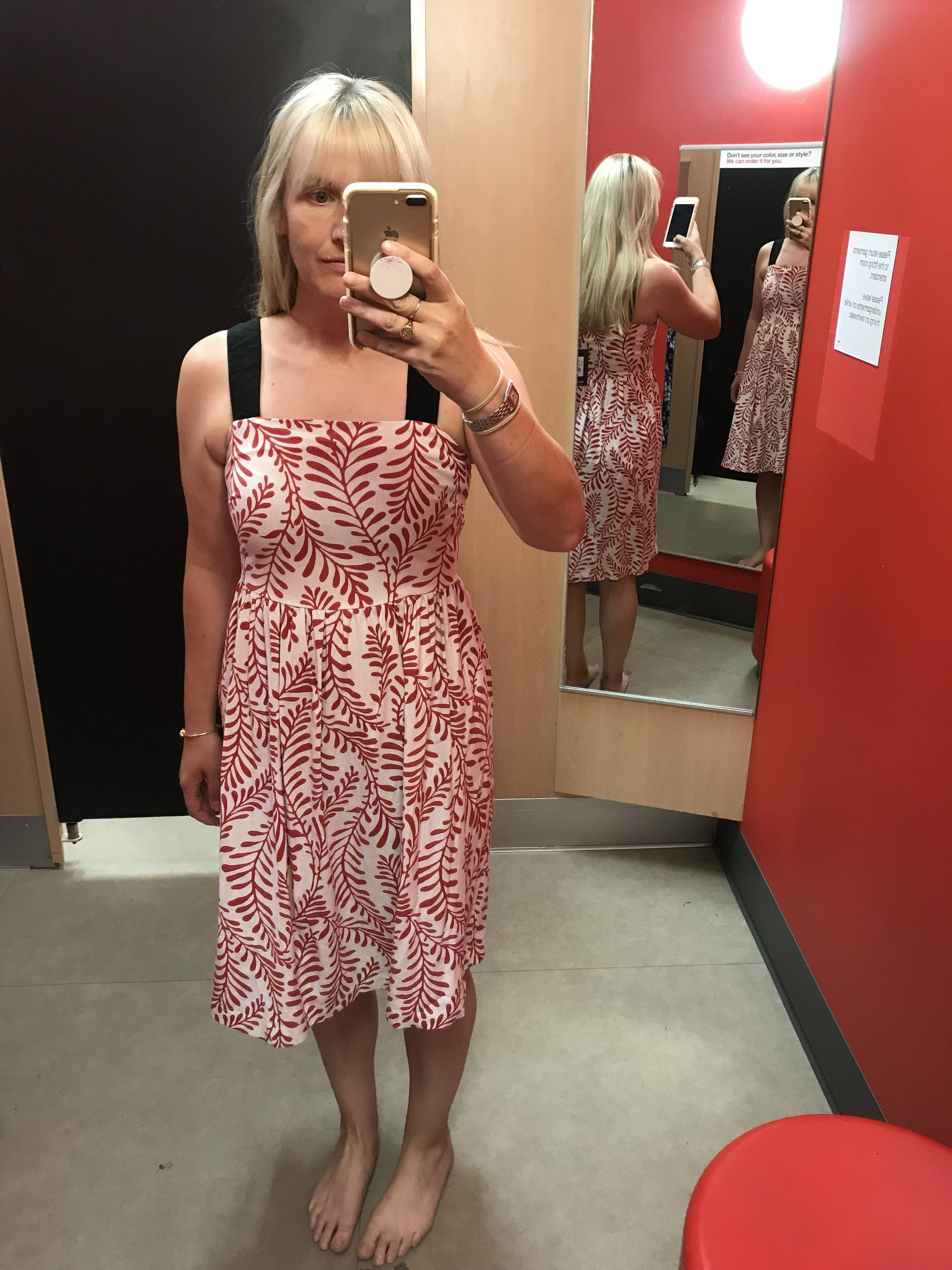 Who What Wear red and cream print midi dress, $37.99
