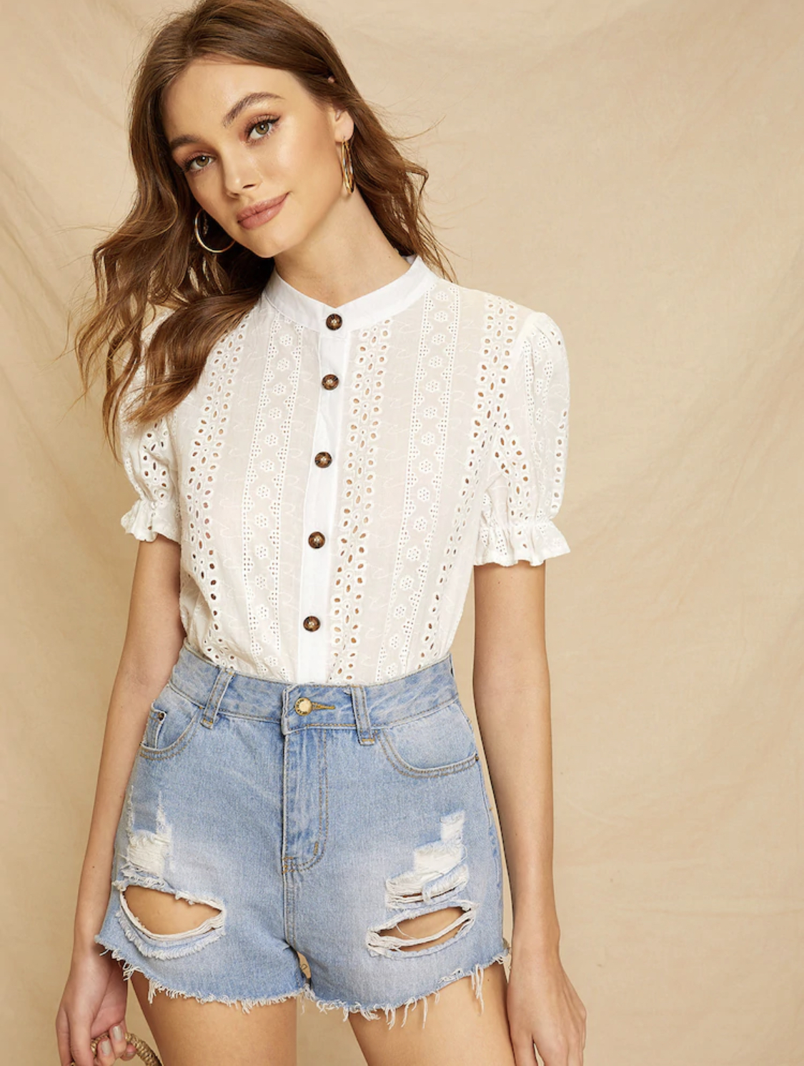 Shein Eyelet Embroidery Button Front Blouse