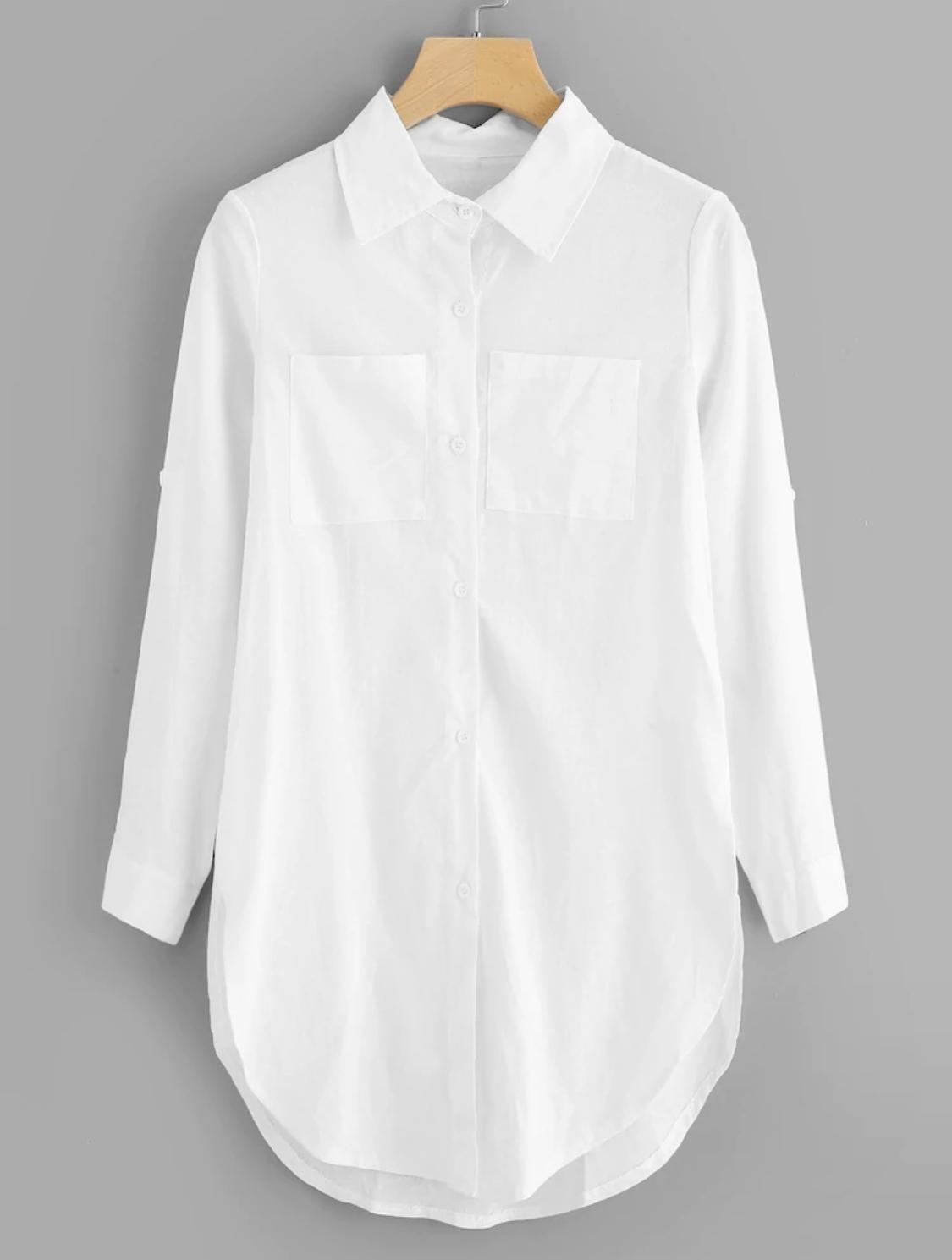 SHEIN Patch Pocket Curved Hem Longline Shirt