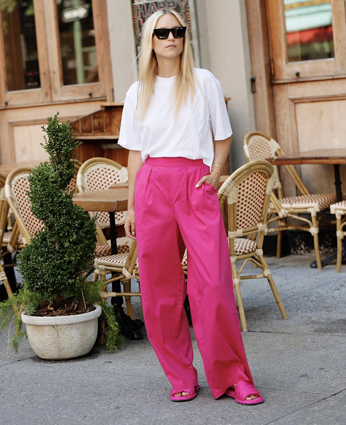 The Drop by Amazon Fashion, pink wide leg pants by @thefashionguitar, $49.90