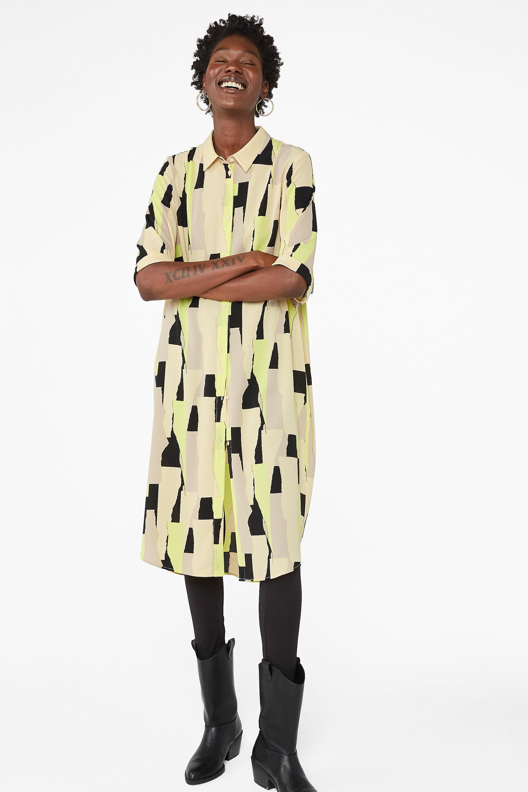 Monki highlighter pen print button-up shirt dress, £30