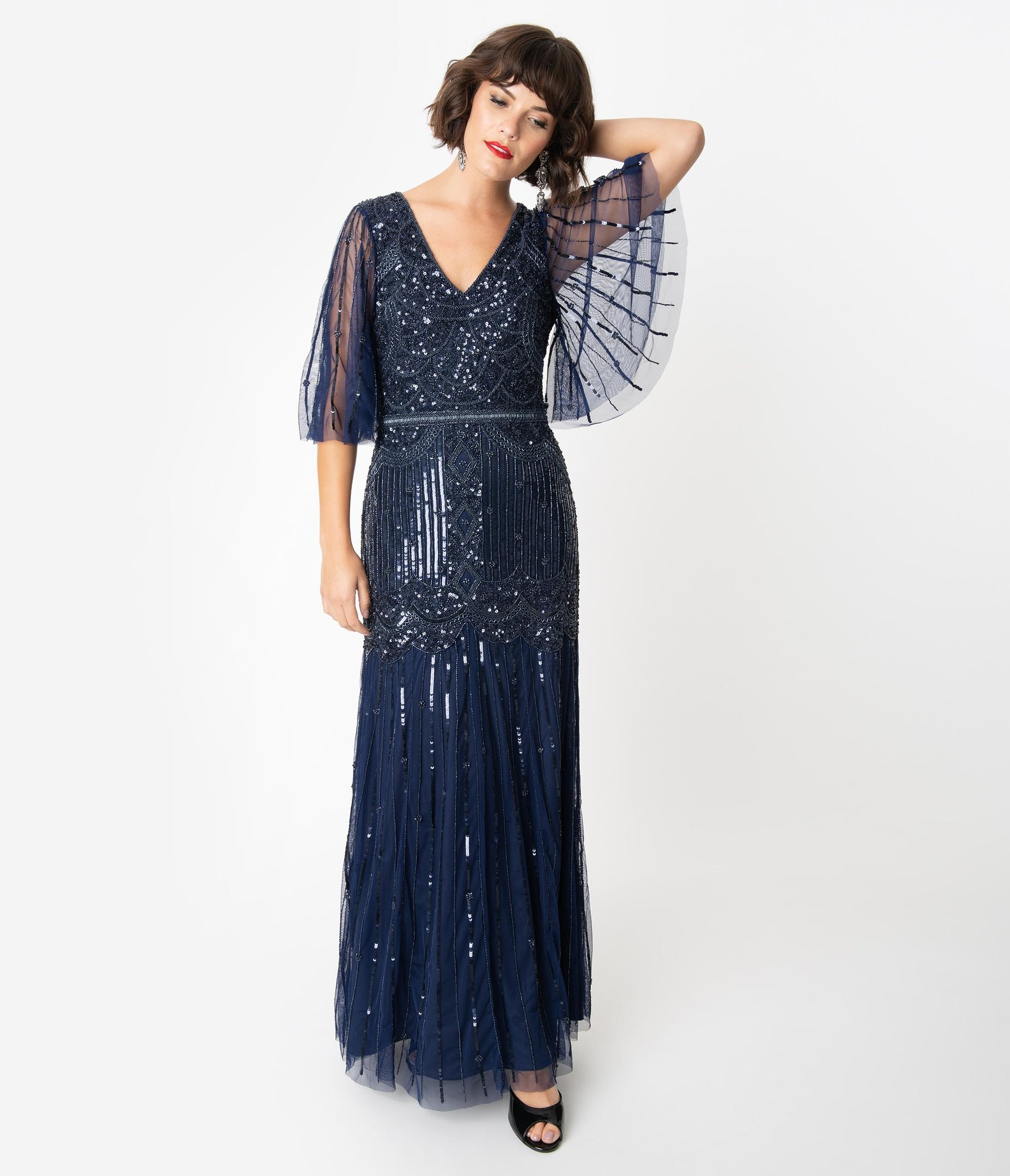 Unique Vintage Bettina long flapper dress, $268