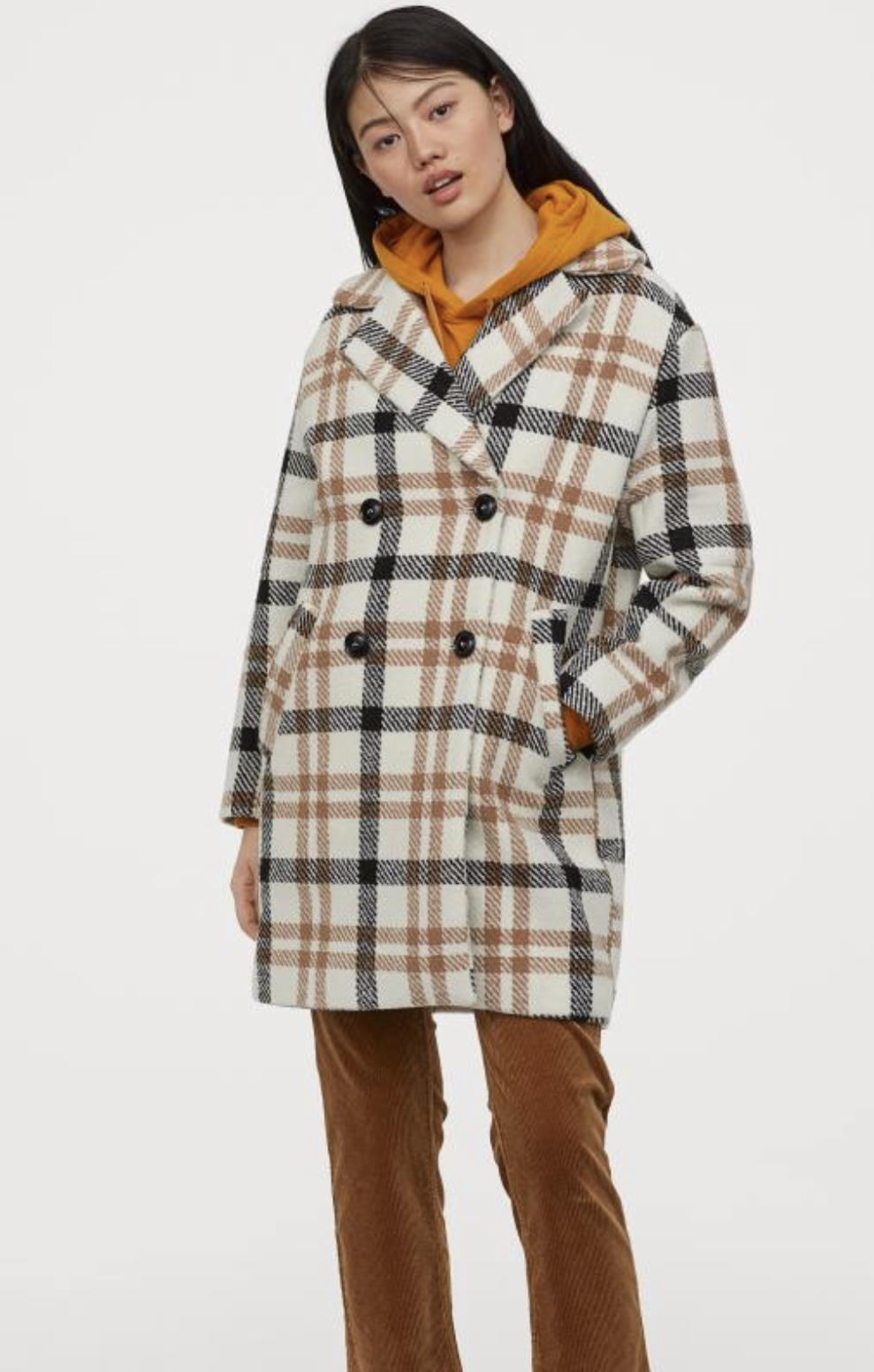 H&M double-breasted check coat, $69.99