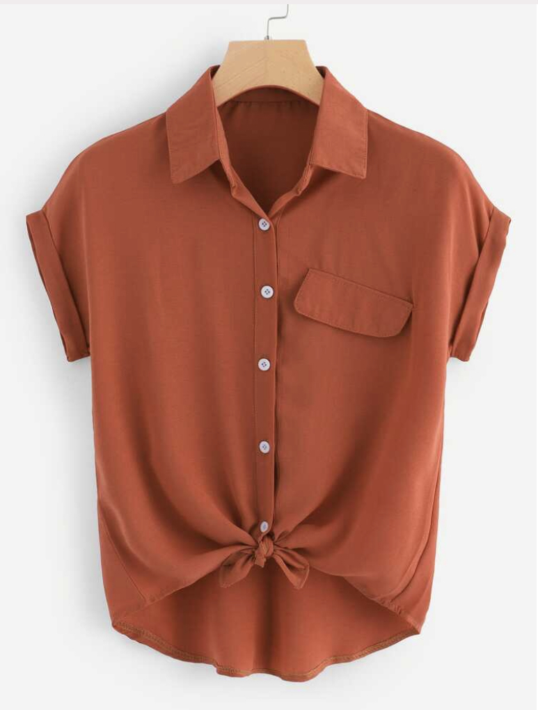 SHEIN rolled cuff knotted hem shirt, $10