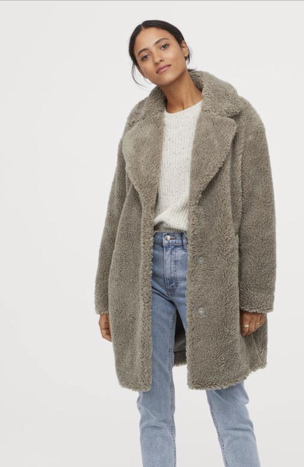H&M green pile coat, $79.99