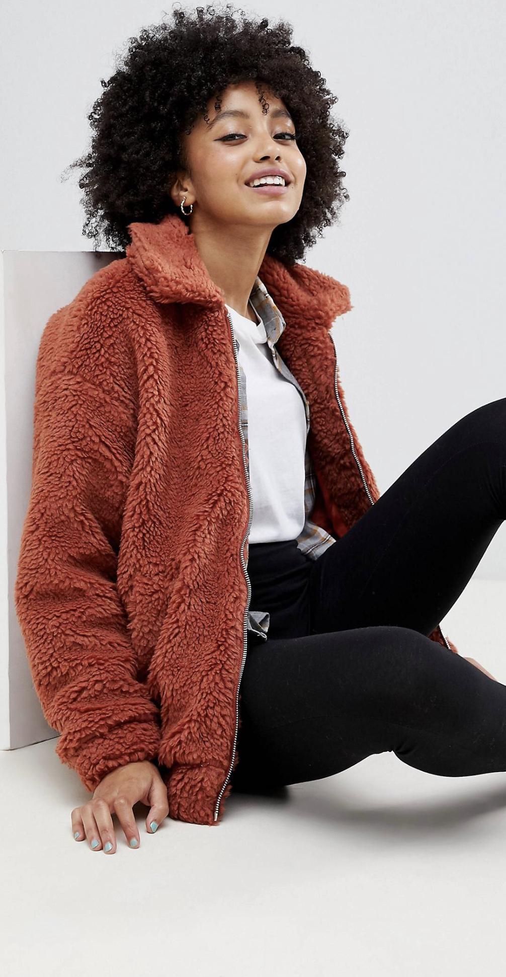 New Look at ASOS teddy faux fur bomber jacket, $48