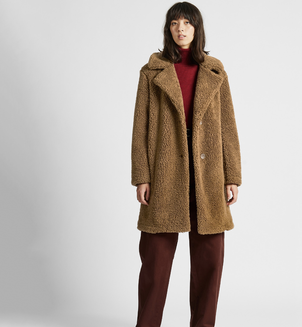 Uniqlo pile-lined fleece tailored coat, $49.90