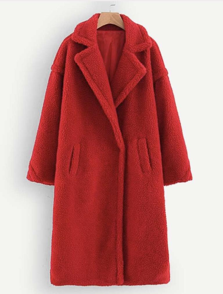 SHEIN pocket-front teddy coat, $44