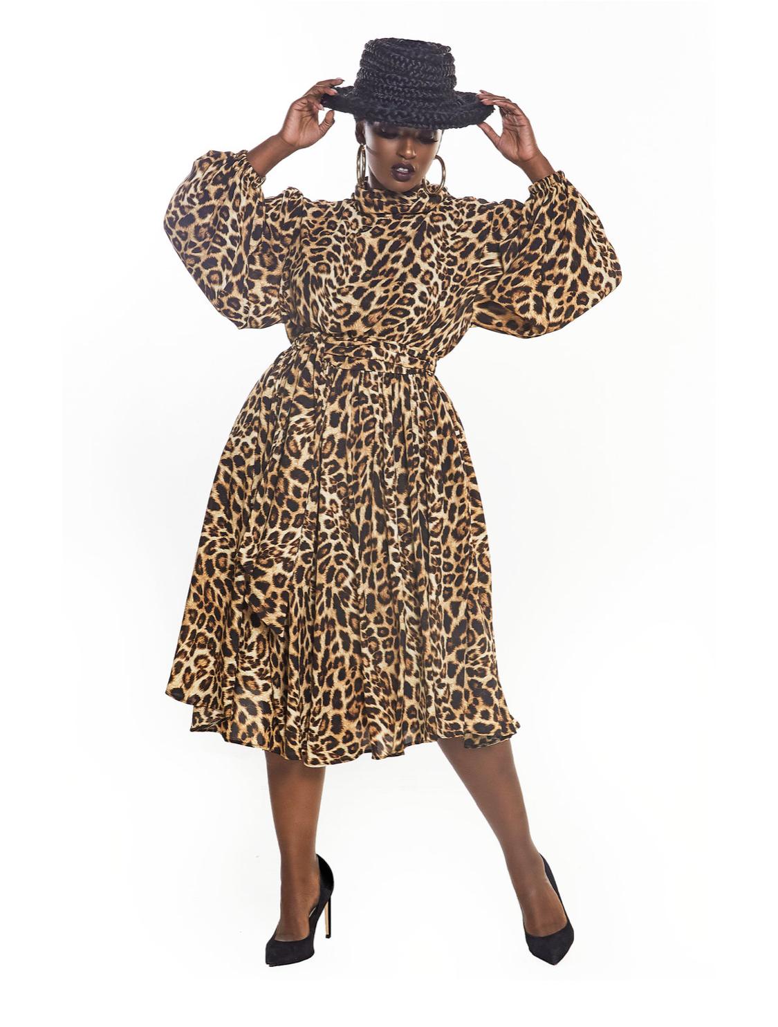 Jibri leopard high-neck flare dress, $250
