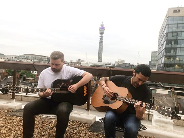 a little rooftop acoustic session with our good friends @d.e.diaz & @andreajdinardo filming. video coming soon.