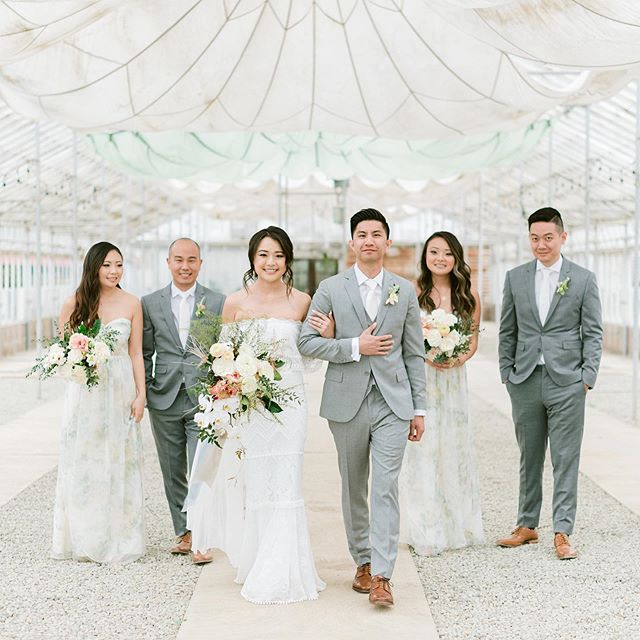 When I saw this greenhouse at @dos_pueblos_orchid_farm w parachutes hanging from the ceiling I thought it was the prettiest thing and then I saw the @jennyyoonyc bridesmaids dresses, their bouquets by @preciousbloom and the colors were like match made in heaven with the parachutes in there so obviously we HAD to take photos there 🙌🏼🙌🏼🙌🏼 ahhh I love every second of it #whenitmakessense 😃#matchmadeinheaven