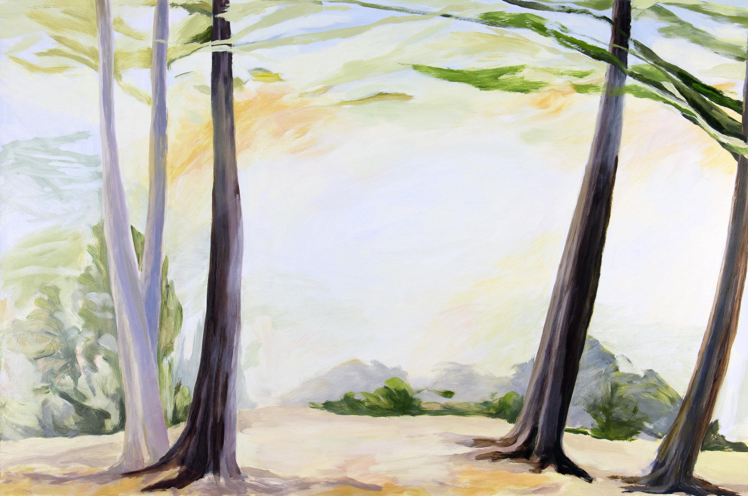 "Holding Light and Spirit, (Movement) , 2018, O/Panel, 24"" x 36"""