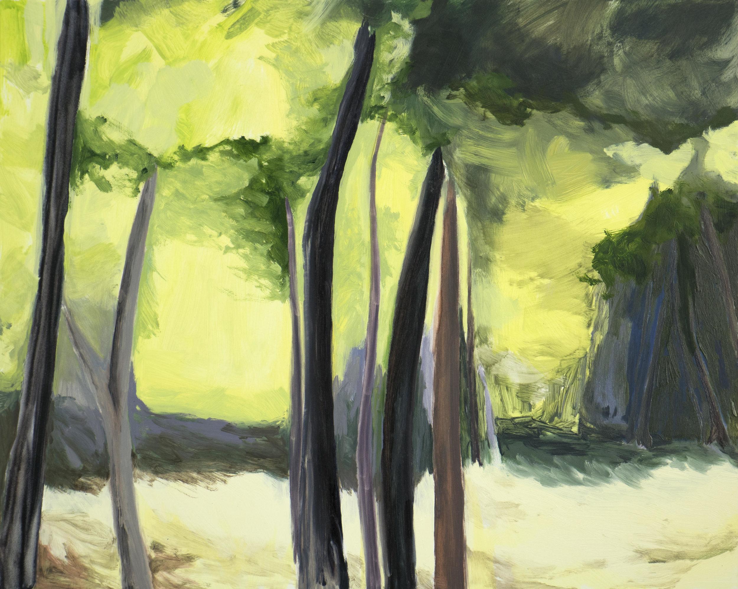 "Purple Dark, Yellow Light , 2017, O/Panel, 16 x 20"""