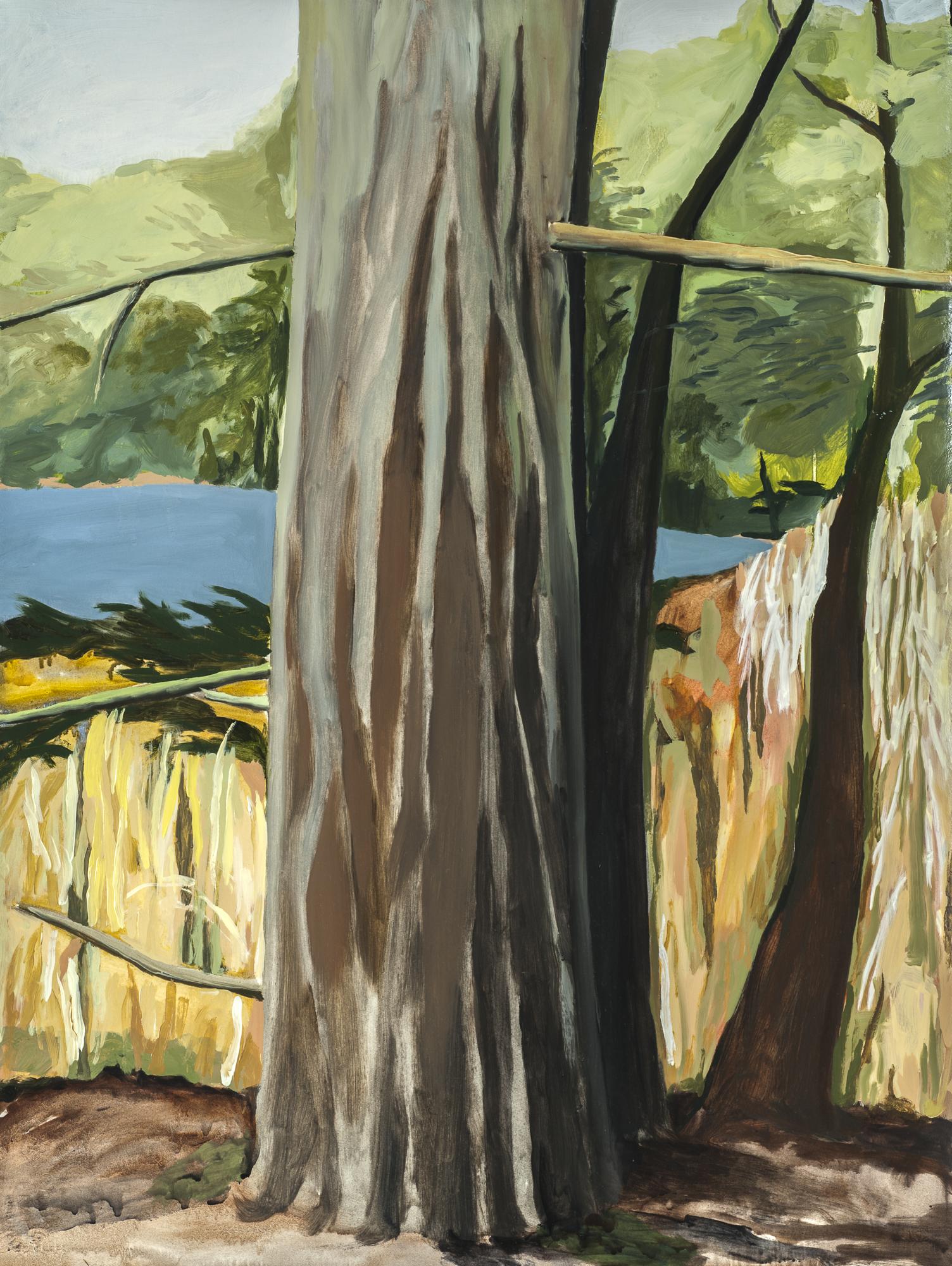 """Pine Tree at the Lake, I , 2015, O/Paper, 30"""" x 22"""""""