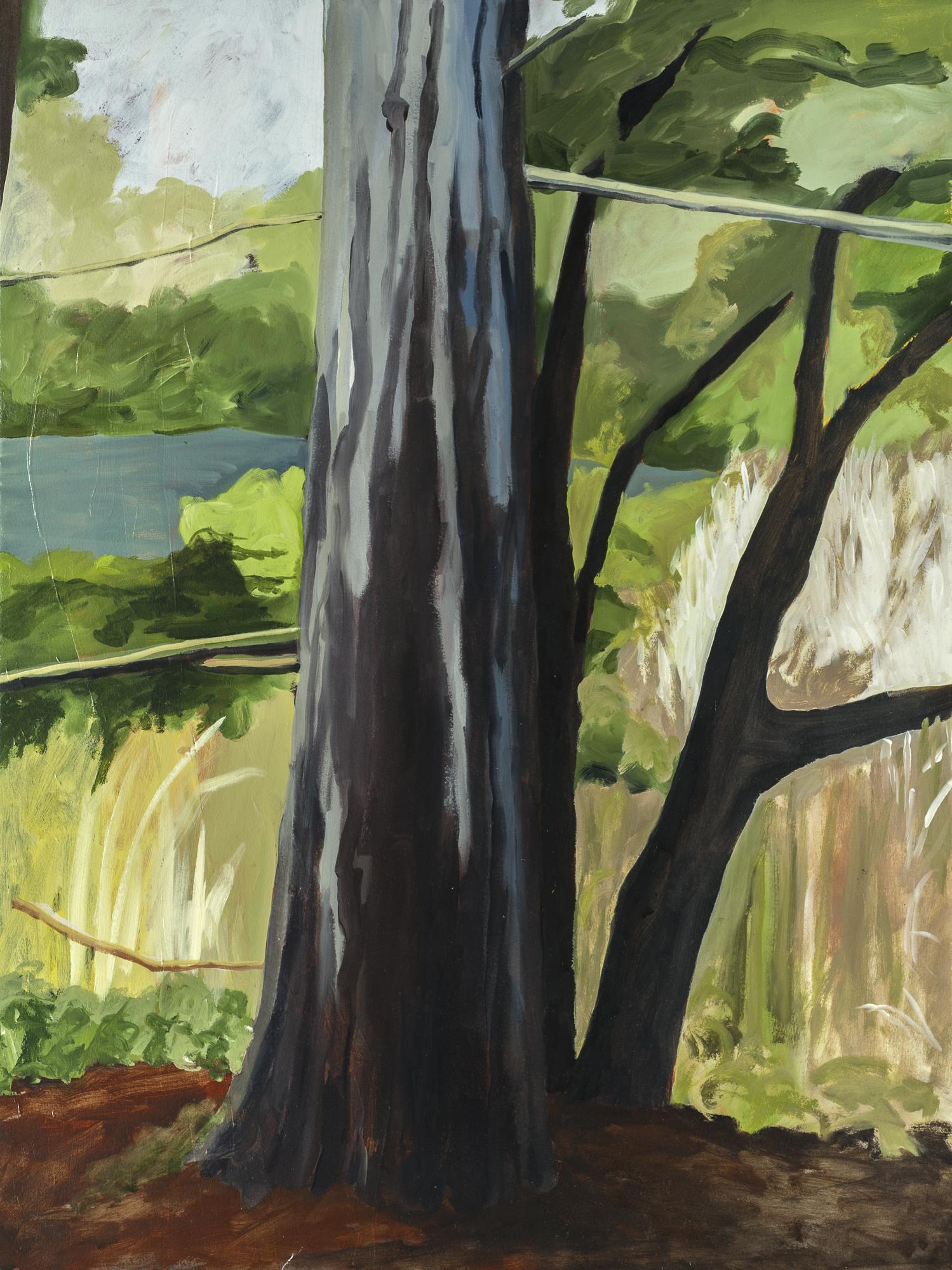 "Pine Tree at the Lake, II , 2015, O/Paper, 30"" x 22"""