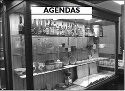 AGENDAS  A display case at the old Slinger train depot contains artifacts from the village's history, including its centennial celebration.