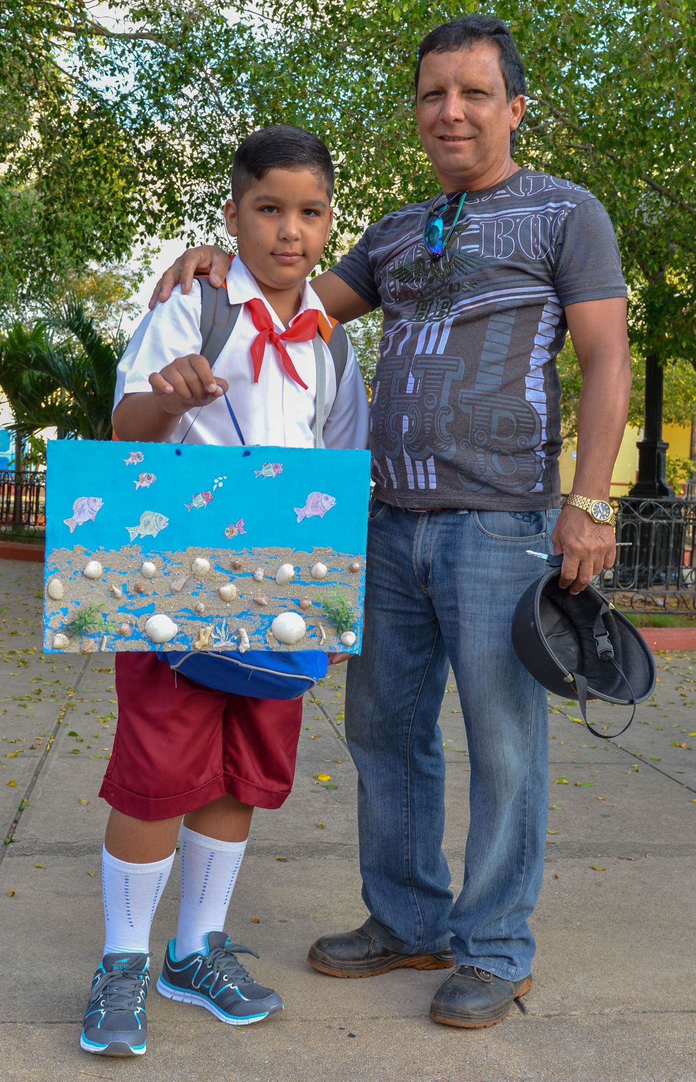 School Boy and Dad - Trinidad Cuba 2015