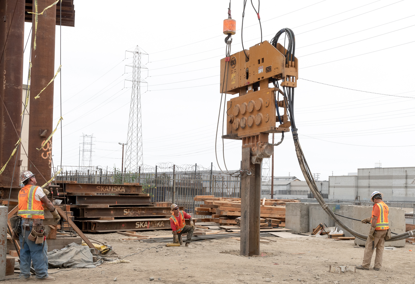 Piling Driving Beam into Ground - 2018