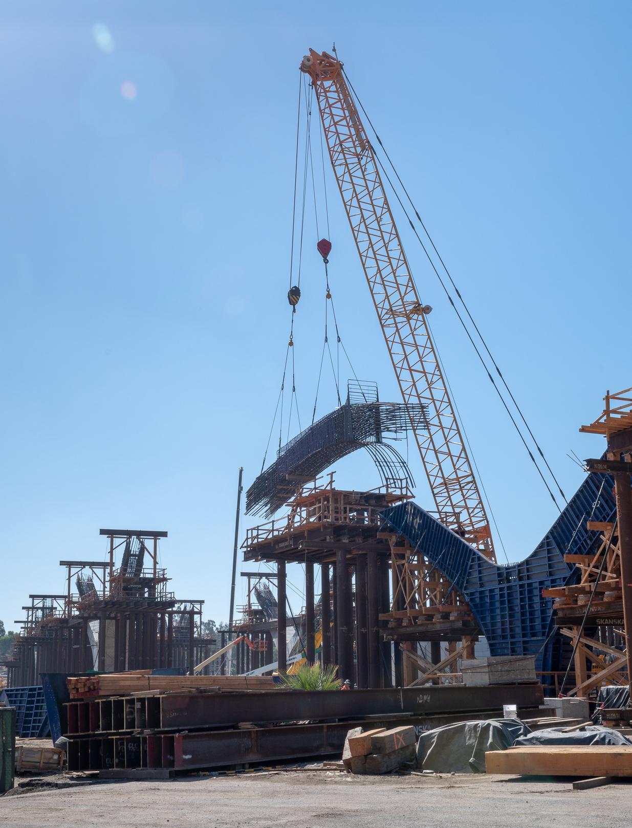 Crane Lifting  Rebar Into Arch Form - 2018