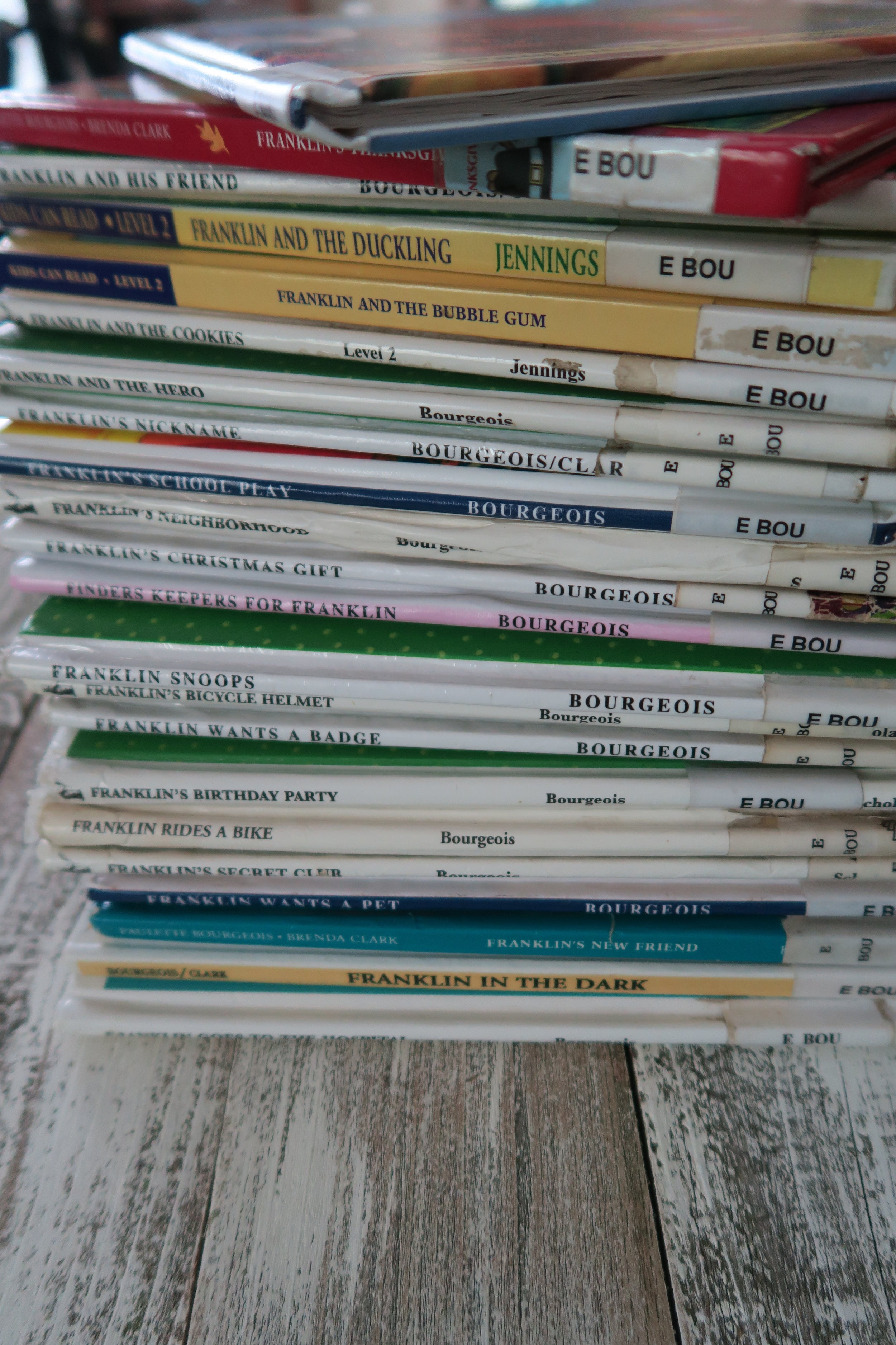 Priscilla's stack of Franklin Books