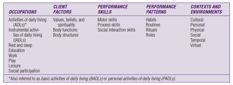 Figure 1. Domain of occupational therapy (AOTA, 2014, p. S4).