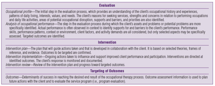 Figure 2. The process of occupational therapy (AOTA, 2014)