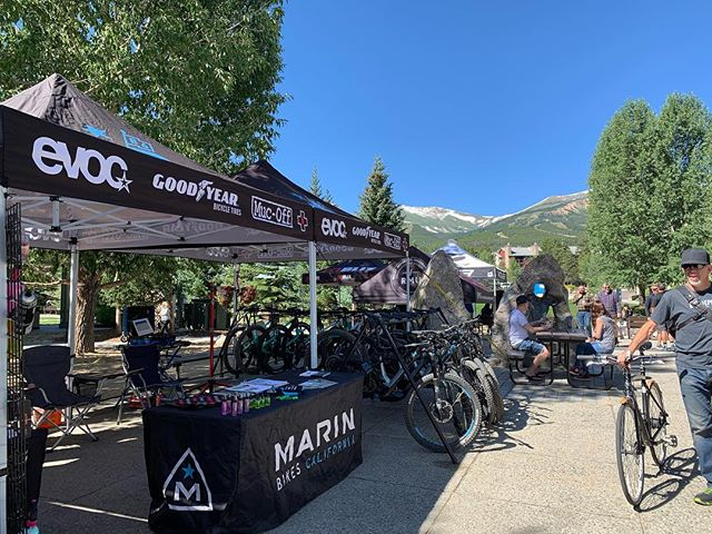 Not a bad day here at #Intr/Brk. Right in downtown Breck brah, we're thru Thursday. #yourbestride #allthetraction #goodyear #evocusa #marinbikes #mountvision #mucoff