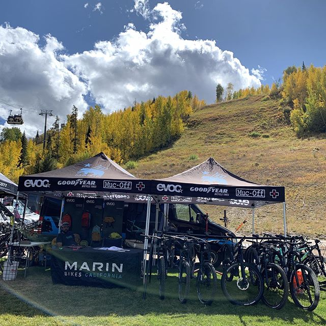 The Aspens are popping here at the Vail Outlier fest. Come ride an Alpine trail through the Aspen tunnels. #yourbestride #marinbikes #mucoff #evocusa #goodyearbike