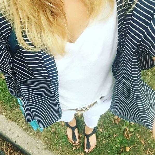 Jeans: Old Navy; Shoes: Birks; Cover-up: Madewell; Belt: Loft